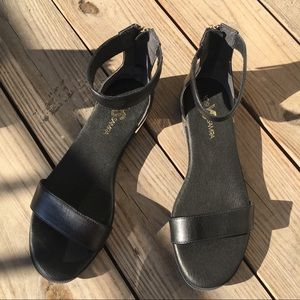 YOSI SAMRA | Black & Gold Strap Sandals | Size 9